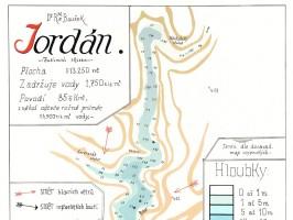 Mapa táborské vodní nádrže Jordán z roku 1931
